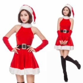 クリスマス サンタ XMAS サンタクロース 可愛い ワンピース 帽子付き  イベントパーティー コスプレ衣装 sdps3302