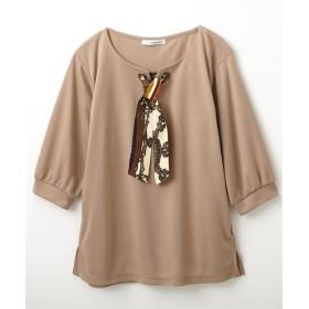 前スカーフ柄リボン付トップス (Tシャツ・カットソー)(レディース)T-shirts
