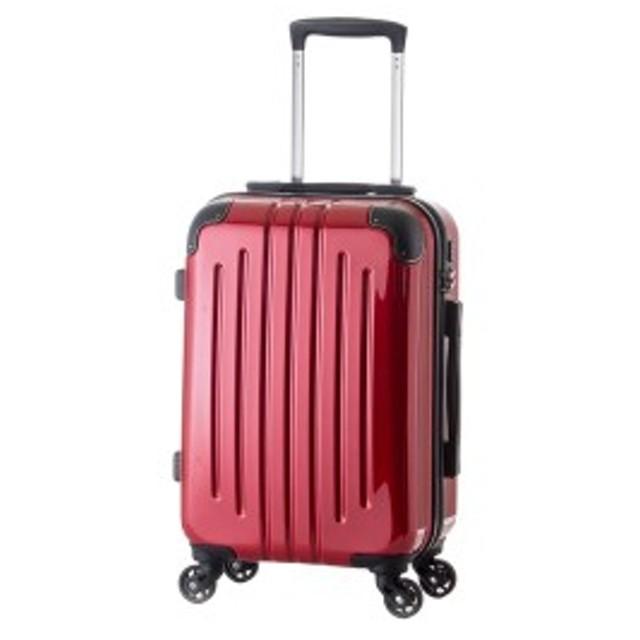 【機内持ち込み可】 軽量スーツケース/キャリーバッグ 【ライトレッド】 29L 2.6kg ファスナー 大型キャスター TSAロ