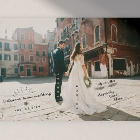背景が映えるおしゃれ写真ウェルカムボード │結婚式 前撮り