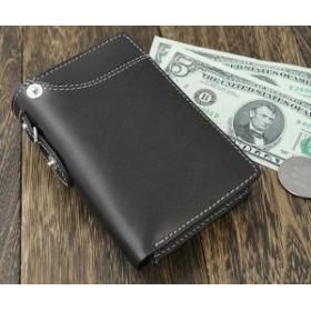 e005df87989c Igginbottom イギンボトム ボンデッドレザーのベラ付き縦型二つ折りメンズ財布(小銭
