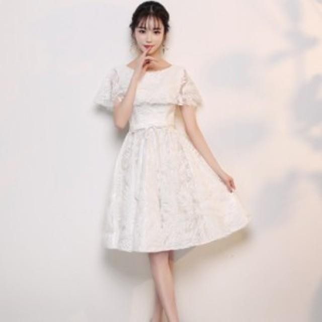 結婚式 お呼ばれドレス パーティードレス Aライン 結婚式 二次会 同窓会 袖あり 半袖 ドレス 大きいサイズ 結婚式 10代 20代 大きいサイ