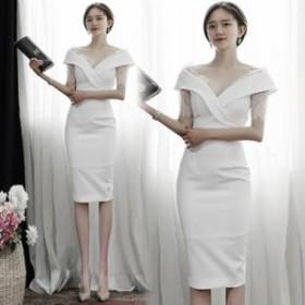 韓国 ドレス 結婚式 お呼ばれドレス ひざ ミモレ丈 ドレス パーティードレス ミモレ丈 タイト 結婚式 二次会 同窓会 袖あり 半袖 ドレス