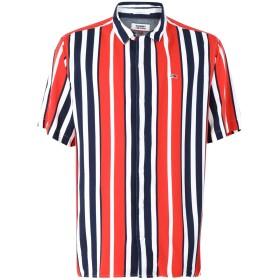 《セール開催中》TOMMY JEANS メンズ シャツ レッド M レーヨン 100% TJM STRIPE CAMP SHIRT