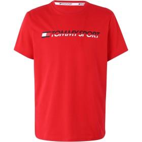 《期間限定セール開催中!》TOMMY SPORT メンズ T シャツ レッド S コットン 61% / ポリエステル 39% T-SHIRT LOGO CHEST