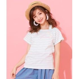 ボーダーオフショルダーTシャツ(女の子 子供服。ジュニア服) Tシャツ・カットソー