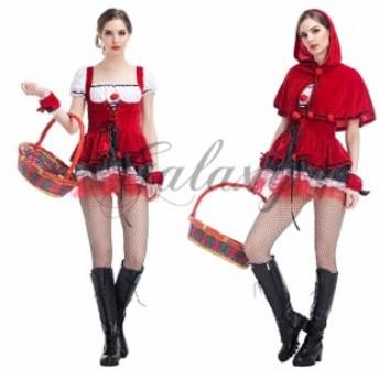 ハロウィン  赤ずきん メイド服 レッド 童話 かわいい イベント パーティー 仮装 舞台 ステージ コスプレ衣装 ps3023