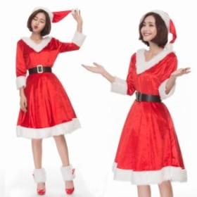 クリスマス サンタ XMAS サンタクロース 可愛い ワンピース 帽子付き  イベントパーティー コスプレ衣装 sdps051