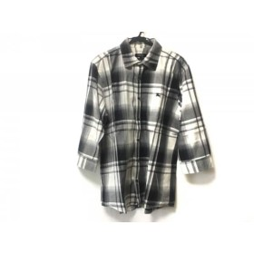 【中古】 バーバリーブラックレーベル 七分袖シャツ サイズ3 L メンズ グレー 黒 白 チェック柄