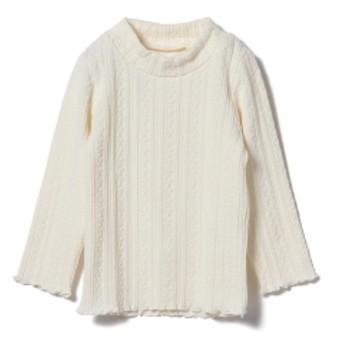 BEAMS mini / ヘムメロウ モックネック ロングTシャツ(90~120㎝) キッズ カットソー OFF WHT 110