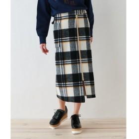 OZOC / オゾック 【2WAY】リバーシブル/チェックウールナロースカート