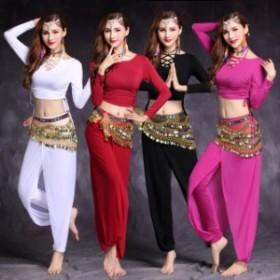 ベリーダンス衣装 インドダンス レッスンウエア 4色 長袖 練習服 組み合わせ自由 舞台 コスチューム hy1161