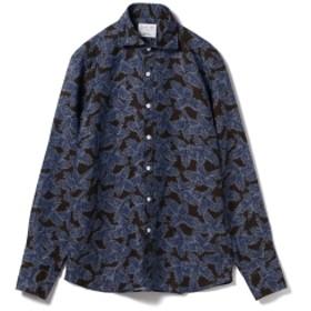 Brilla per il gusto / リネン ボタニカル カッタウェイカラーシャツ(ALBINI fabric)◎ メンズ カジュアルシャツ BROWN XL