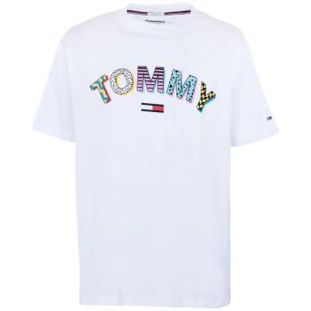 《期間限定 セール開催中》TOMMY JEANS メンズ T シャツ ホワイト L コットン 100% RETRO GEO TEE