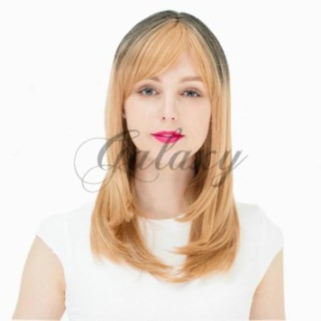 原宿ガール かわいい ロリータ セミロング ゴールド・ブラック グラデーション コスプレ 耐熱ウィッグ wig-805a