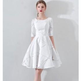 結婚式 お呼ばれドレス 袖あり パーティードレス Xライン 結婚式 二次会 同窓会 袖あり 五分袖 ドレス 大きいサイズ 結婚式 10代 20代 30