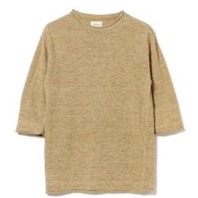 BEAMS / リネン クルーネック 7分丈 ニット メンズ ニット・セーター OLIVE/OD L