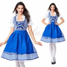 ハロウィン ビールガール ドイツ メイド服 ブルー ワンピース 民族衣装 S-XXXLサイズ コスプレ衣装 ps3603