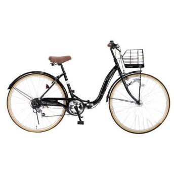 マイパラス M-509-BK ブラック PRINTEMPS [折り畳みシティサイクル(26インチ・6段変速)] 折りたたみ自転車・ミニベロ