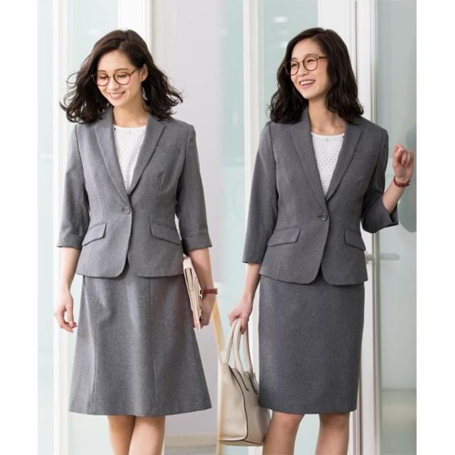 洗える7分袖2スカートスーツ3点セット ジャケット タイトスカート セミフレアスカート