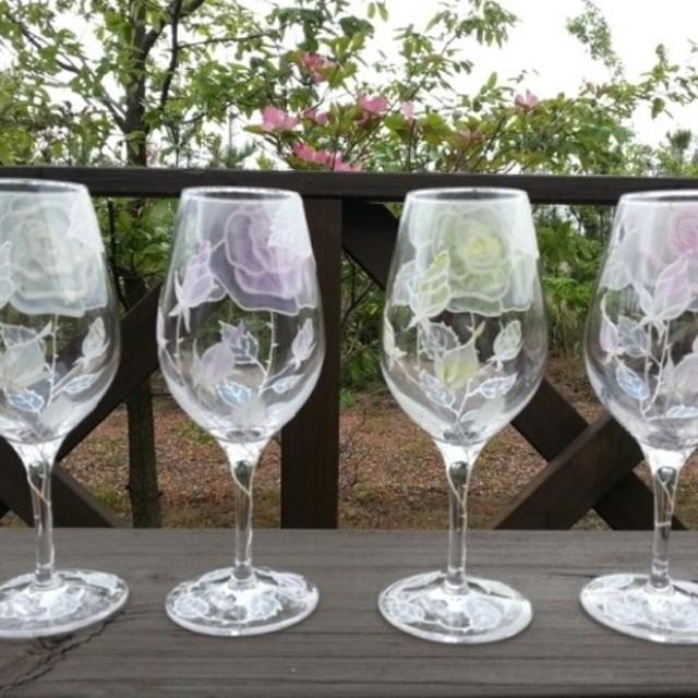 【母の日・父の日】薔薇バラローズワイングラス1つ|両親贈呈品・結婚祝い・還暦祝い・退職祝い・新居祝い・誕生日プレゼント