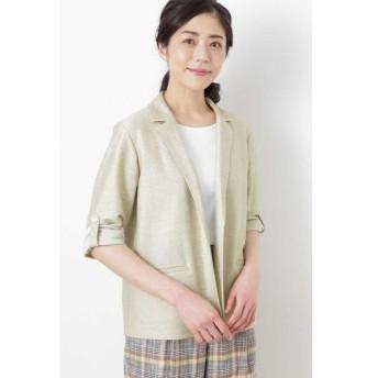 HUMAN WOMAN / ヒューマンウーマン ◆麻/ポリエステルジャージージャケット
