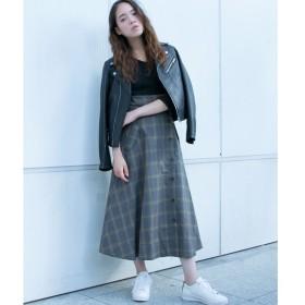 OZOC / オゾック チェックミモレフレアスカート