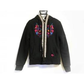 【中古】 ロキシー Roxy ブルゾン サイズM レディース 黒 ブルー マルチ 冬物/ジップアップ/刺繍