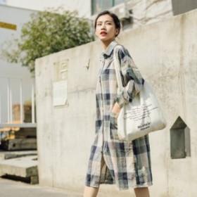 2019   レディース    シャツ   麻生地   チェック   トレンド    カジュアル   韓国ファッション   人気