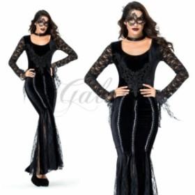 ハロウィン 女王様 クイーン QUEEN 魔女 ヴァンパイア 吸血鬼 ブラック レース ドレス コスプレ衣装 ps3547