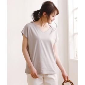 汗じみにくい綿レーヨン混素材Vネックトップス (Tシャツ・カットソー)(レディース)T-shirts