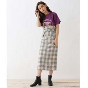 OZOC / オゾック 【2WAY/洗える】コルセットベルト付チェックナロースカート