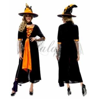 ハロウィン  魔女 魔法使い ウィッチ 悪魔 デビル 帽子付き コスプレ衣装 ps2717