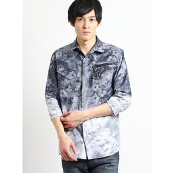 【semantic design:トップス】ストレッチ花柄段染め7分袖シャツ