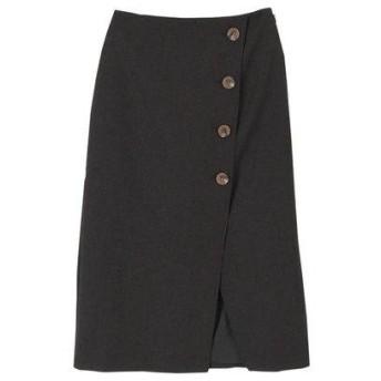 ティティベイト titivate リネンライクフェイクラップ台形スカート (ブラック)