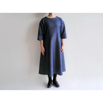 播州織コットン*ゆったりシルエットのシンプルなフレアワンピース(薄手ワッフル織)