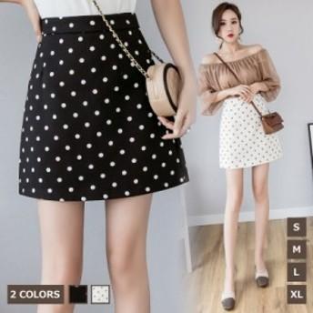 [フリーサイズ]ドット柄スカート ハイウエストスカート 全2色 レディース お呼ばれ Aライン 着痩効果 2019年新作 ビジネス