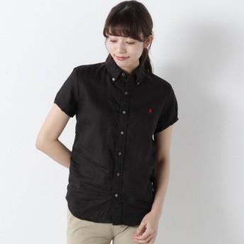 シャツ ブラウス レディース パフスリーブ刺繍リネンシャツ[日本製] 「ブラック」