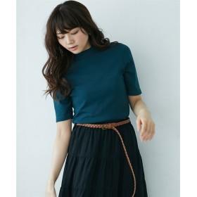 UVカット綿100%フライス素材プチハイネック5分袖Tシャツ (Tシャツ・カットソー)(レディース)T-shirts