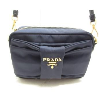 【中古】 プラダ PRADA ショルダーバッグ - ダークネイビー ミニサイズ/リボン ナイロン レザー