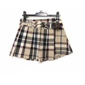 【中古】 バーバリーブルーレーベル スカート サイズ38 M レディース 美品 ベージュ グレー ボルドー