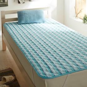 布団カバー シーツ 敷きパッド パッドシーツ 綿のさらぽこ敷きパッド 「ブルー」