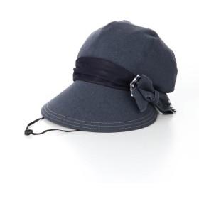 帽子 ベルメゾン 風で飛びにくいキャスケット カラー 「ネイビー×ギンガムチェック」