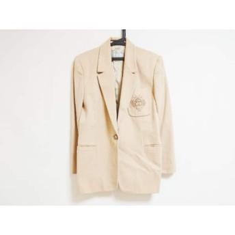 【中古】 ヴェルサス VERSUS ジャケット サイズ26/40 レディース ベージュ 肩パッド/刺繍