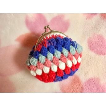 玉編みのがま口 赤青白グレー段染め