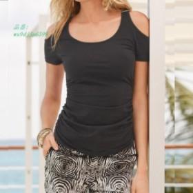ファッション夏 女性 セクシーなカジュアル半袖モーダル Tシャツ女性オフショルダースリムブラックホワイトレディース Tシャツトップ Bl