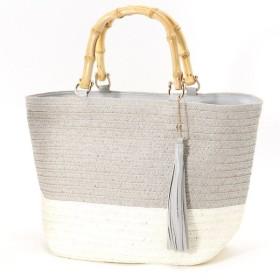 バッグ カバン 鞄 かごバッグ 人気シリーズ♪バンブーハンドルバイカラーかごトートバッグ カラー 「グレー」