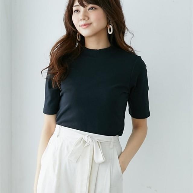UVカット綿100%フライス素材プチハイネック5分袖Tシャツ