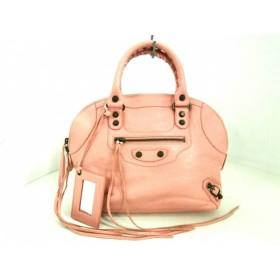 【中古】 バレンシアガ BALENCIAGA ハンドバッグ 美品 クラシックボーリング 319371 ピンク レザー