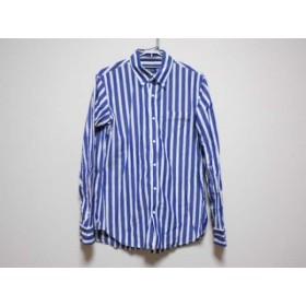 【中古】 パーリーゲイツ PEARLY GATES 長袖シャツ サイズ5 XL メンズ ネイビー 白 ストライプ